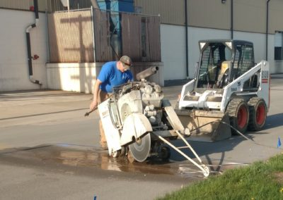 Concrete Sawing, street cut for sanitary sewer tap, Bremen, IN